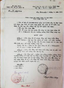 Quyết định số 218 TCT-TCLĐ ngày 01/11/1991 bổ nhiệm đồng chí Đinh Tiến Dũng giữ chức vụ Kế toán trưởng