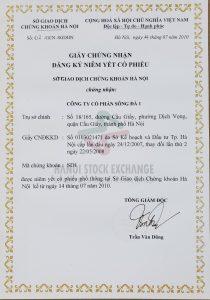 Giấy chứng nhận đăng ký niêm yết cổ phiếu số 62/GCN-SGDHN do Sở Giao dịch Chứng khoán Hà Nội cấp ngày 14/07/2010